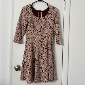 3/4 length sleeve embroidered dress.